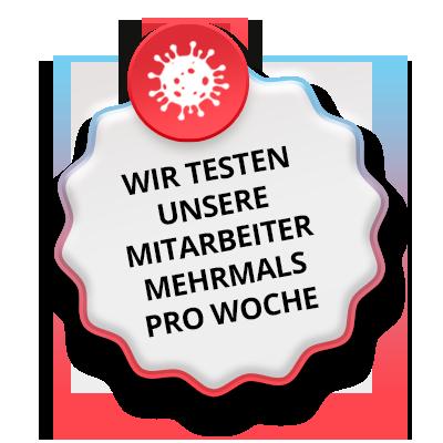 Button Corona-Test Mitarbeiter der Hygge Betreuung in Leipzig mehrmals pro Woche